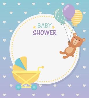 Rundschreibenkarte der babyparty mit bärenteddy im babywarenkorb