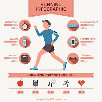 Runner infographie in flache bauform