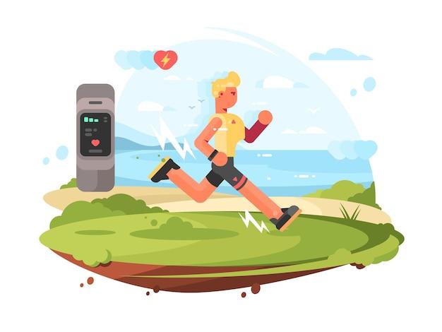 Runner scamper läuft an der küste zum pulsmesser. vektor-illustration