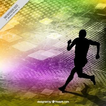 Runner silhouette auf farben abstrakten hintergrund