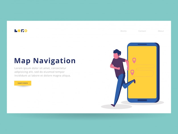 Running navigation illustration für die landing page