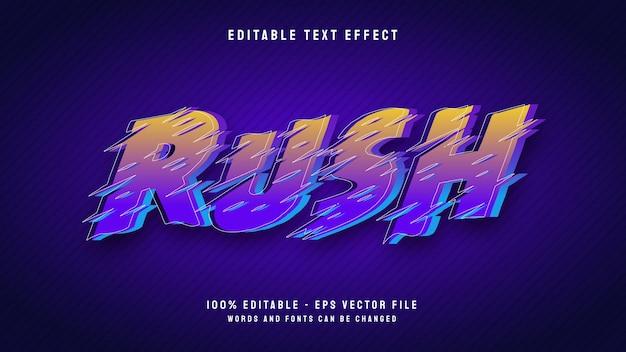 Rush 3d-cartoon-stil mit bearbeitbarer texteffektvorlage für umrisse