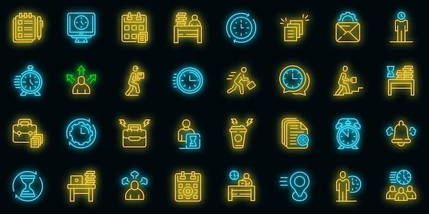 Rush job icons set vektor neon