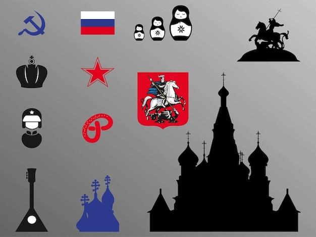 Russische flagge und kirche vektor-icons