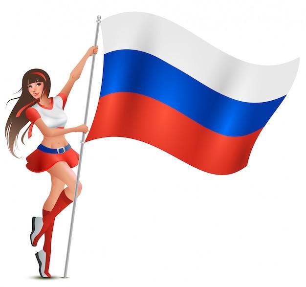 Russische junge schöne frau, die flagge hält. fan unterstützt fußballmannschaft