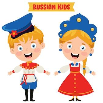 Russische kinder, die traditionelle kleidung tragen