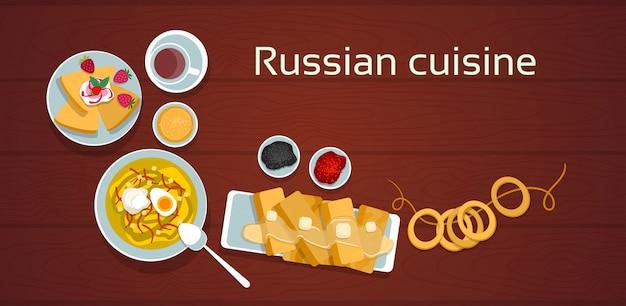 Russische küche traditionelles essen set