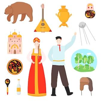 Russische nationale traditionelle reisebilder russland illustration lokalisiert auf weiß. russischer satz von symbolen