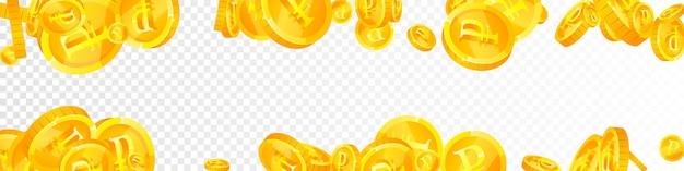 Russische rubel-münzen fallen. charmante verstreute rub-münzen. russland geld. modernes jackpot-, reichtums- oder erfolgskonzept. vektor-illustration.
