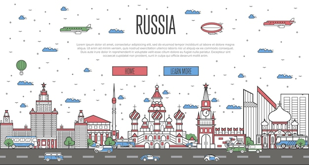 Russische skyline mit nationalen sehenswürdigkeiten
