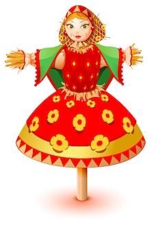 Russische strohbildnisfrau in traditioneller kleidung