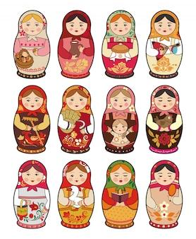 Russische traditionelle babuschka-puppe, matroschka, satz illustrationen