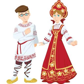 Russischer mann und frau in der traditionellen kleidung lokalisiert auf weißem hintergrund.