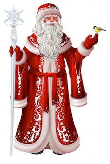 Russischer weihnachtsmann hält stab und meise. weihnachtsnational retro kleidung russland
