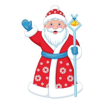 Russischer weihnachtsmann im langen roten mantel