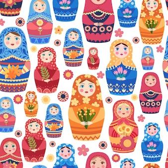 Russisches puppenmuster. textildesign mit authentischer russischer blumendekoration auf weiblichem spielzeugvektor nahtlosem hintergrund. souvenir babuschka und matroschka traditionelle puppenillustration