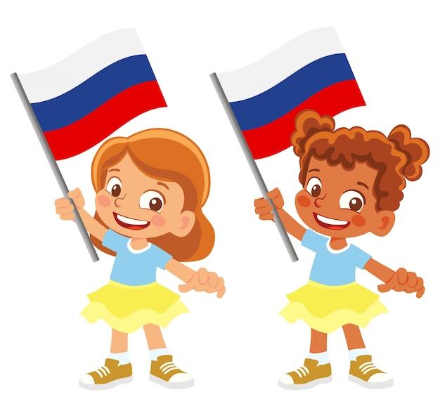 Russland flagge in hand gesetzt