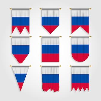 Russland flagge in verschiedenen formen