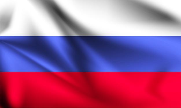 Russland flagge weht im wind. teil einer serie. russland schwenkt flagge.