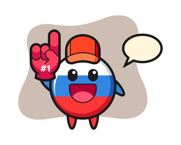 Russland flaggenabzeichen illustration cartoon mit nummer 1 fans handschuh, niedlichen stil design