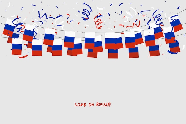 Russland-girlandenflagge mit konfettis auf grauem hintergrund.