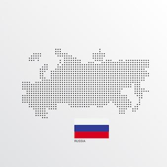 Russland-kartenentwurf mit flaggen- und hellem hintergrundvektor