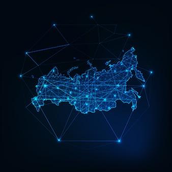 Russland leuchtende netzwerkkarte umriss. kommunikation, anschlusskonzept.