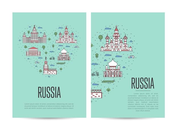 Russland-reiseausflugflieger eingestellt in linearen stil
