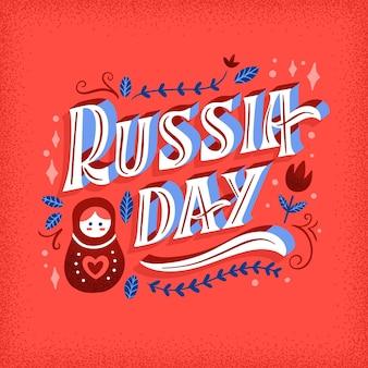 Russland-tag-beschriftungskonzept