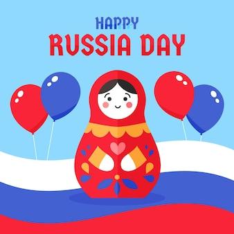 Russland tag mit puppe und luftballons