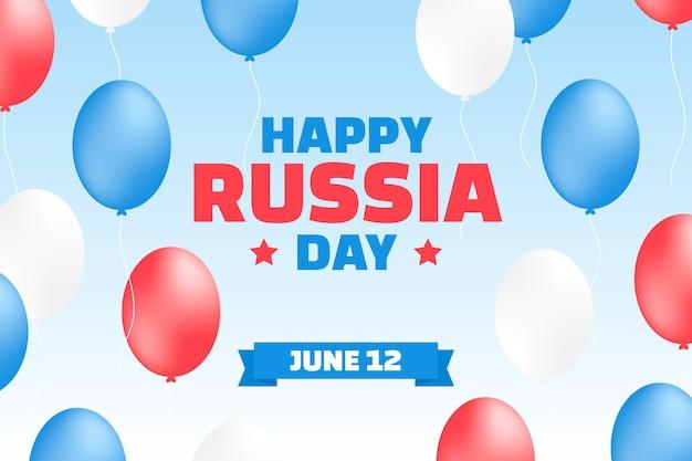Russland-tageshintergrund mit luftballons im flachen design