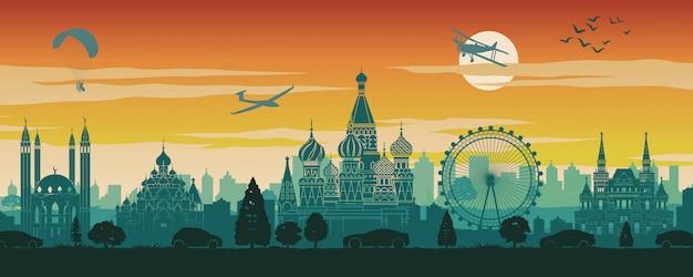 Russlands berühmter markstein im landschaftsdesign, im reiseziel, im schattenbilddesign, in der sonnenuntergangzeit in der roten und grünen farbe
