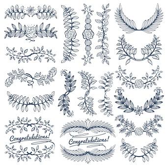 Rustikale dekoration der weinlese für hochzeitsfeierdesign. leeren kranz der skizze und randrahmen vect