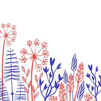 Rustikale dekorative sammlung von zweigen, ährchen, pflanzen und blumen.