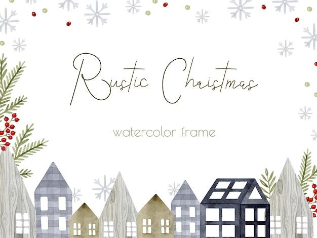 Rustikale gemütliche häuser weihnachtsrahmenschablonenhintergrund