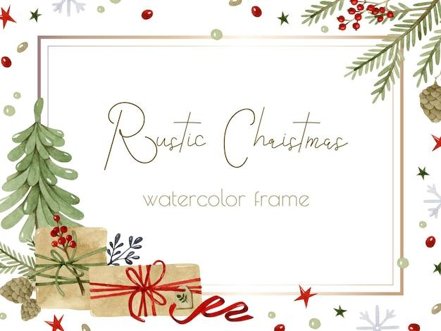 Rustikale geschenke und weihnachtsbaumaquarellrahmenschablone