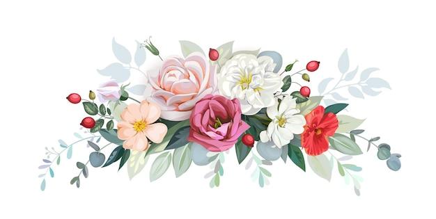 Rustikale girlande aus hellen rosen