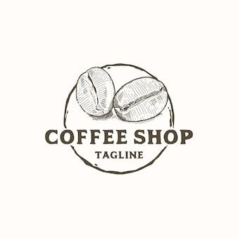 Rustikale handgezeichnete kaffeebohnen für coffee shop logo design