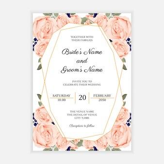 Rustikale hochzeitseinladungskartenschablone mit rosafarbener blume