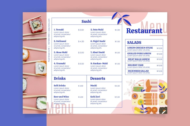 Rustikale restaurantmenüschablone mit foto