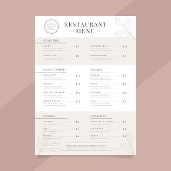 Rustikale restaurantmenüvorlage