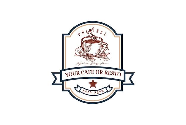Rustikale retro-vintage-kaffeetasse für café-restaurant oder produktetiketten-logo-design-vektor