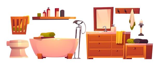 Rustikales badezimmerzeug im isolierten satz des retro-stils