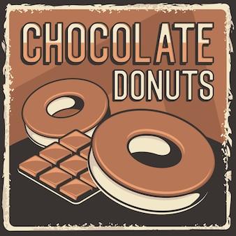 Rustikales klassisches retro-weinlese-beschilderungsplakat der schokoladen-donuts