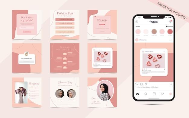 Rustikales pastell des schönheitsbloggers und des hautpflegekosmetikpflegekonzepts für die bannerschablone der sozialen medienbeitragsgeschichten
