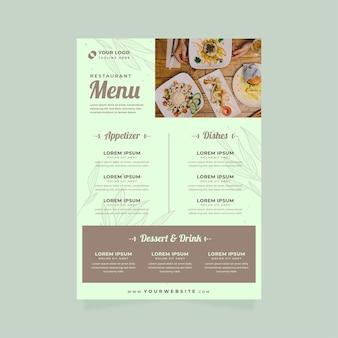 Rustikales restaurantmenü mit foto