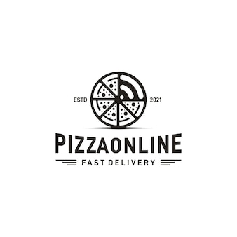 Rustikales retro vintage pizza- oder pizzeria-logo-design und signal-logo