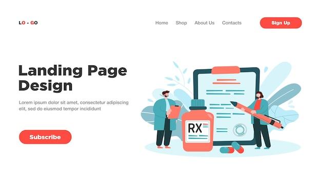 Rx-rezept. kleine apotheker der karikatur, die dem patienten therapie und medikamente mit medikamenten und schmerzmitteln empfehlen