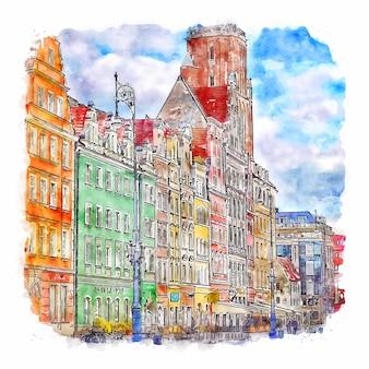Rynek wroclaw polen aquarellskizze handgezeichnete illustration