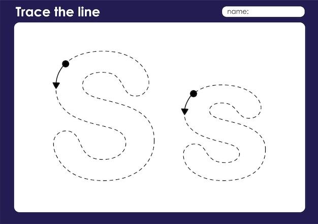 S alphabet letter on tracing linien vorschule arbeitsblatt